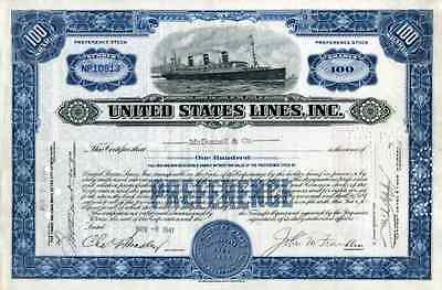 1941 United States Lines Co Stock Certificate