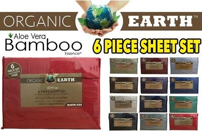 (Organic Earth Bamboo Aloe Vera 1800 Series 6 Piece Full Size Sheet Set)