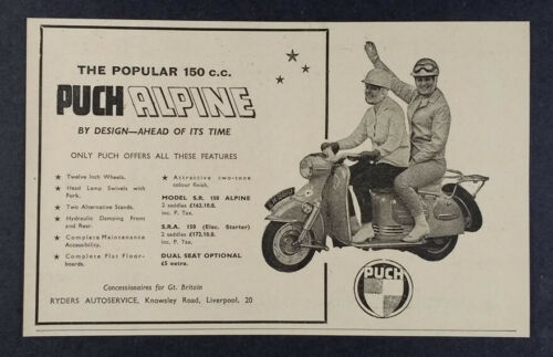 1961 Puch 150 Alpine Scooter vintage print Ad