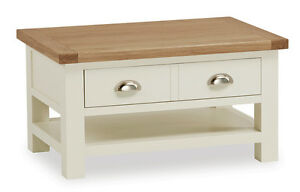 Daymer Painted Small Coffee Table Off White Coffee Table With Drawer Shelf Ebay