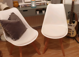 2 x White PVC seat Tulip Eiffel inspired dining chairs