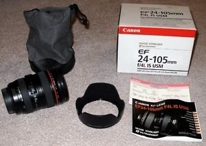 CANON 24-105 USM L-lens with hood, MINT