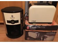 Russell Hobbs Heritage creme digital coffee machine and matching toaster