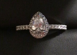 Stunning Pear Shaped Halo Engagement Ring!! Brand new!!