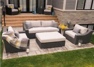 Brand new in box Toja patio furniture sofa set with club chairs