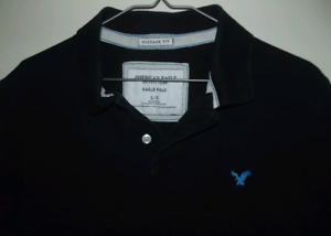 Navy Blue American Eagle Vintage Fit Polo Shirt - Large