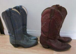2 Pair Ladies Cowboy Boots, Blue $50. Burgundy Boulet $85