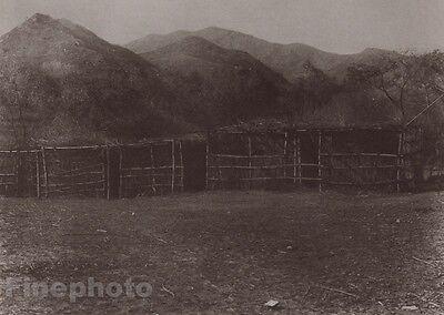 1900/72 Photogravure NATIVE AMERICAN INDIAN Communal Shelter EDWARD CURTIS 11x14