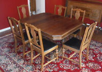 Antique Oak Dining Set with 6 Chairs, China Cabinet & Buffet