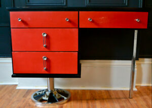 Vintage Red and Black Desk with Unique Base and Hardware