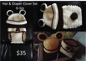 Crochet hat, diaper cover, slouchy, EOS holder, baby items London Ontario image 6