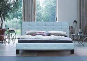 DELUXE  brand new Fabric Upholstered Bed Frame Button Style queen Box Hill Whitehorse Area Preview