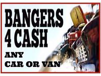 any scrap cars or vans brought for cash