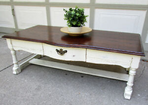 TODAY SALE - VINTAGE SOLID OAK SHABBY CHIC COFFEE TABLE -