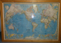 """1971 National Geographic World Map (LARGE) 72"""" w  X  51"""" h"""