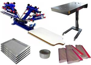 4 Color 1 Station Screen Printing Machine Kit Flash Dryer & Screen Frame & Squeegee 006935