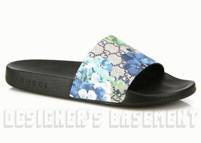 b4f5ad2d6da71d GUCCI mens 10G blue BLOOMS GG Supreme PURSUIT slides FLIP-FLOPS shoes NIB  Authen
