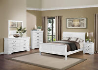 Queen size 5 piece white Louis Phillippe suite,white,cherry,grey