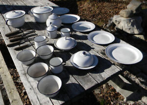 PORCELAIN STONEWARE SET FROM 1920'S LOGGING CAMP WITH UTENSILS