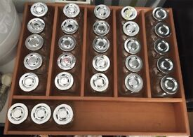 28 x Glass Jars - in Wood Drawer Tray