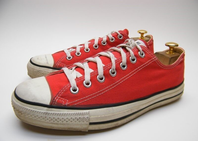 030a7c0ba271 MENS VINTAGE CONVERSE ALL STAR MADE IN USA RED LOW CHUCK TAYLOR SHOES SZ 10