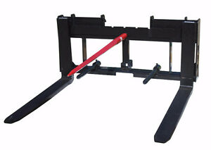 NEW SKID STEER BALE FORK HAY TRAILER HITCH QUICK ATTACH