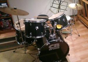 5 Pcs unused drum set  with pedal, stool, hardware