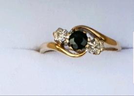 Beautiful 9ct Gold Sapphire and Diamond Ring - Hallmarked