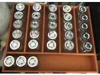 28 x Glass Jars - in Wooden Drawer Tray