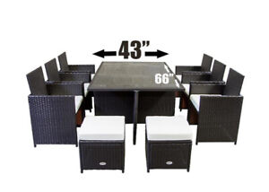 Wicker Outdoor Patio Furniture Dining Dinner Set (11 pcs)