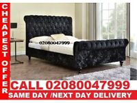 Double Size Crush Velvet Sleigh Bed Frame Only---Single and King Also Available TRAT