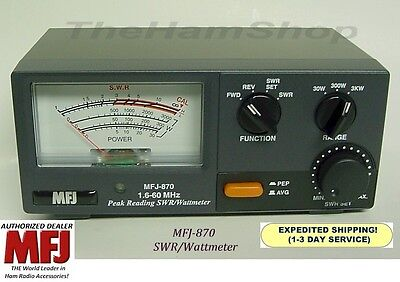 MFJ 870 1.6 - 60 MHz, Peak Reading SWR & Wattmeter, Range 1 - 3000 Watts, NEW