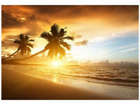 LED CANVAS PRINT SUNSET PIER SILHOUETTED TREE GIRAFFE TROPICAL BEACH PALM TREES
