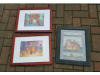 Framed pictures x3