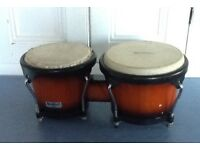 "Bongos made by Headliner - wood and skin 7"" and 8 1/2"""