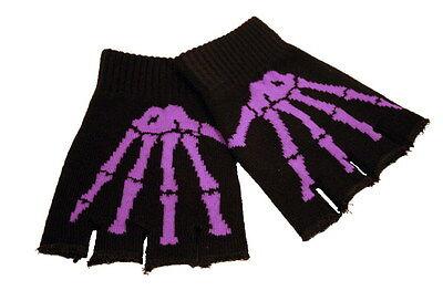 nochen Gothic Punkrock Metal schwarz lila ONESIZE / SALE (Fingerlose Handschuhe Skelett)