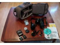 Nikon D3200 DSLR camera with accessories