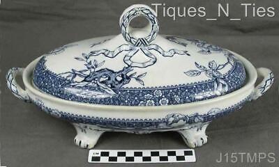 Victorian Aesthetic Movement Cobalt Blue Transferware Covered Vegetable Bowl (JJ