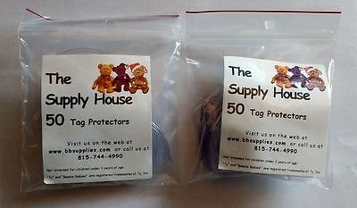 100 TY Beanie Baby Babies Boos Heart Shaped Sleeve Hang Tag Protectors NEW Bag (Beanie Bags)