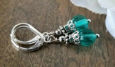 Aqua Blue Glass Beaded Earrings Silver Dangle Leverback Vintage Style Czech