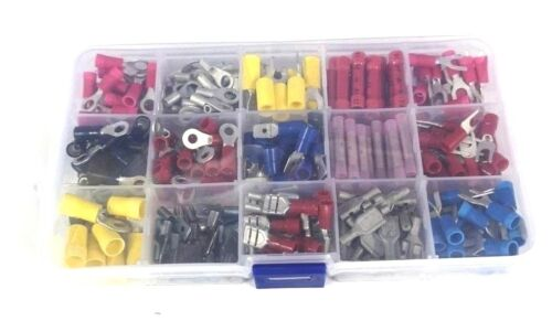570 pc ELECTRICAL Crimp TERMINAL Connectors SET Spade INSULATED & Non Ins NEW