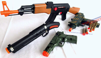 Military AK-47 Toy Rifle UZI Dart Pistol 'Sawed-off' Shotgun Camo 9MM Cap Gun