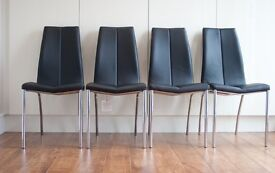 Dining Chairs x 4: Used, Next Opus, Faux leather black, chrome legs