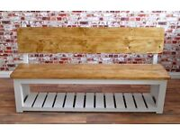 Rustic Pew Storage Hall Bench Farmhouse made from Reclaimed Wood