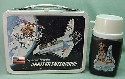 Vintage 1977 Space Shuttle Enterprise metal lunch box and thermos