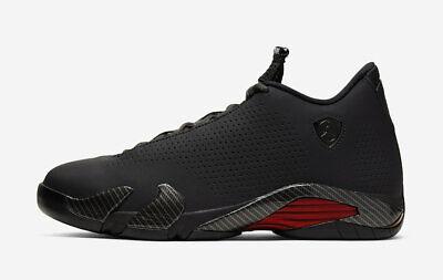 2019 Nike Air Jordan 14 XIV Retro SE SZ 9.5 Black Quilted Ferrari Red BQ3685-001