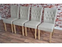 Chesterfield Style Upholstered Dining Chairs Set Button-Back Oak