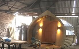 Clava PODS - Log lapped, Steel framed pod approx. 3.2m x 5m