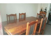 Sheesham table and x7 chairs