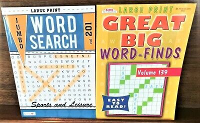 Lot 2 Large Print Word Find Search Giant Puzzle Books by Bendon Kappa NEW!